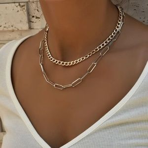Gold and Silver Layered Chain Link Necklace